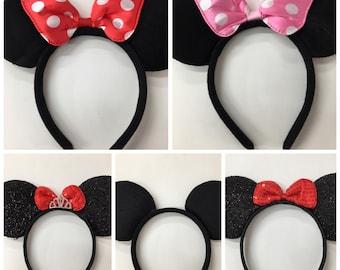 Mickey minnie mouse ears headband /Disney Trip/ minnie inpried princess ears / disney ears headband /Princess Minnie headband/ Disney party