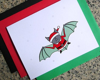 flying santa bat christmas holiday cards / notecards / thank you notes (blank or custom text inside) with envelopes - set of 10