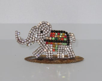 Czech Vintage Rhinestone Miniature Circus Elephant