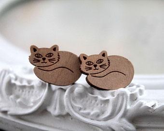 Little sleeping kitten wooden earrings sweet lolita feminine cute dainty cat