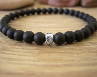Mens Evil Eye Bracelet - Mens Black Bracelet with Fine Silver Bead, Matte Black Stone Beads, Simple Minimalist Bracelet for Protection