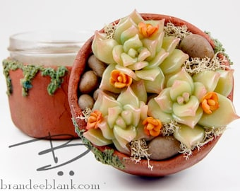 Faux Succulents Stash Jar #17E - ready to ship  - air tight, water proof - 4 oz.