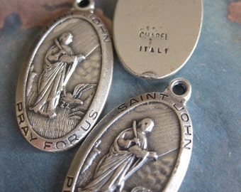 1 PC Saint John Medal / Silver Plated Brass / Made in Italy 18x25mm - II21
