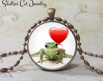 "Froggie Love! Frog Heart Valentine Necklace - 1-1/4"" Circle Pendant or Key Ring - Valentine's Day - Holiday Present or Gift for Frog Lover"