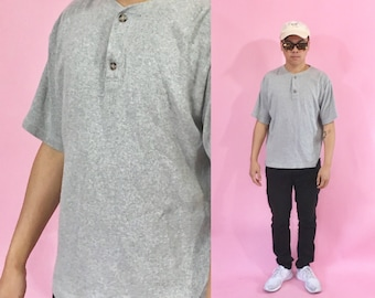 Vintage henley shirt grey tshirt 1990s 1980s tee shirt hiking north face basics