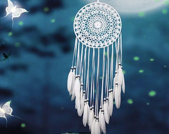 Beautiful Handmade Boho Lace Dream Catcher with Feathers and Beads Wall Hanging Decoration Ornament White Native American