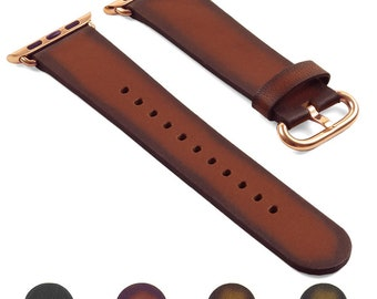 DASSARI Genuine Italian Vintage Leather iWatch Band Strap for Apple Watch w/ Rose Gold Buckle 38mm 42mm