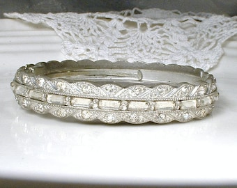 Vintage Art Deco Pave Rhinestone Clamper Bracelet,1930 Bridal Cuff Bracelet Silver Paste Crystal Bangle GATSBY Flapper Statement Wide Hinged