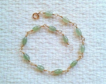 "Jade et Gold-Filled fil Bracelet - 8"" Long 05/18"