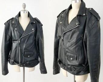 Vintage Black Leather Motorcycle Jacket - 90s Genuine Wilsons Leather Biker Moto Jacket - Distressed Rugged Punk Rocker - Mens Size Large