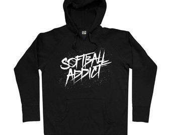 Softball Addict Hoodie - Custom Colors - Men S M L XL 2x 3x - Softball Hoody, Sweatshirt, Sports, Fastpitch - 11 Colors