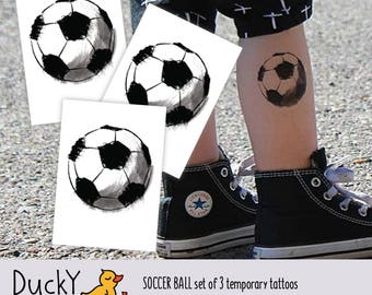 """Set of 3 temporary tattoos """"Scetchy football"""". Black and white soccer ball tattoos. Gift for School soccer team players TT064"""