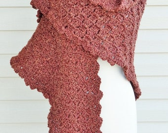 Crochet Super Soft, Cozy Scalloped Edged Lacy Shawl in Russet Brown, Wrap, Fall, Spring or Winter Shawl