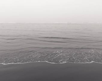 Beach Photography, Black and White California Coast Dreamy Ocean Calm Zen Water Sand Wall Art Coastal Seashore Beach House Minimalist Fog