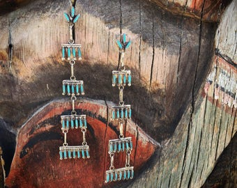 Tiered Chandelier Earrings Long Turquoise Dangles Native American Indian Jewelry, Zuni Needlepoint Turquoise Jewelry, Shoulder Dusters