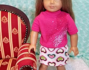 Pink Turtleneck Shirt with Cream Corduroy Skirt - American Girl & Friends