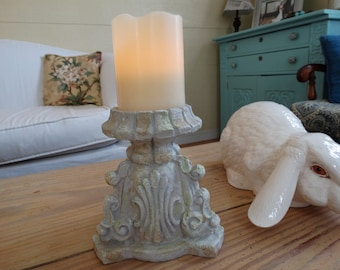 Pillar Candle Holder Shabby Cottage Decor Weathered Look
