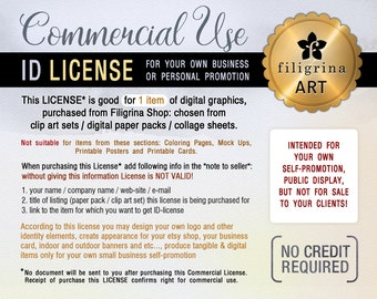 COMMERCIAL ID-LICENSE. Buy it if you want use Filigrina graphics for your business identity: logo, business cards and more. For 1 listing