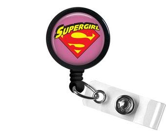 Super Girl Logo Symbol DC Photo Glass / Bottle Cap Retractable ID Badge Reel