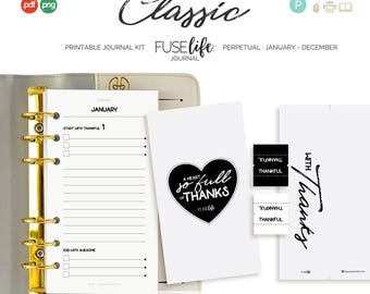 Personal  Gratitude Journal Inserts : Personal FUSElife Classic > inc Cover, Bookmark, Tabs + Tip Guide (jes0574)