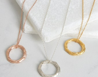Round textured silver or gold medium pendant, handmade women's jewellery, circle pendant, everyday necklace,women's gift.FREE SHIPPING