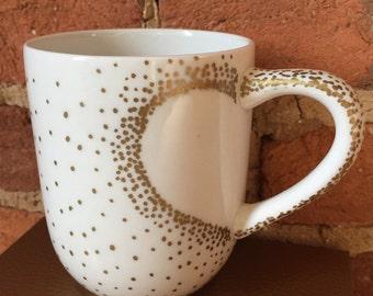 Hand painted Heart Mug, Valentines mug, Gold Mug, Silver Mug