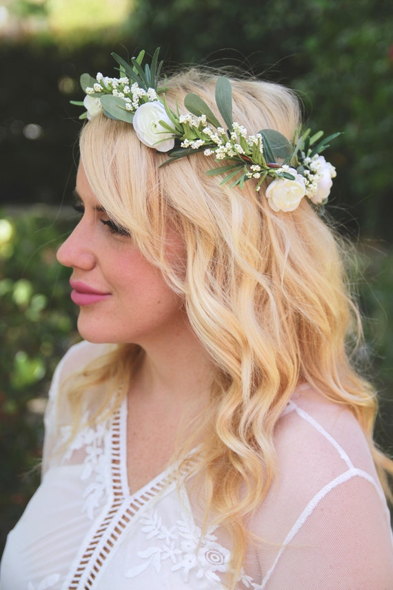 White Flower Crown | Peony Flower Crown | Babys Breath Flower Crown | Babys Breath Crown | White peony flower crown | Simple Flower Crown