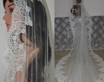 MANTILLA LACE VEIL-Cathedral mantilla lace veil-Cathedral lace wedding veil