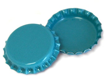 100 Aqua Blue Bottle Caps Jewelry Magnets New Linerless BRAND NEW
