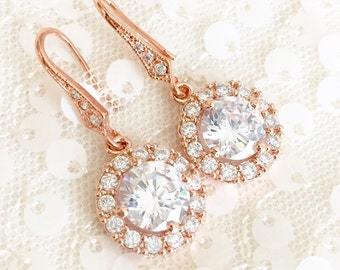 Rose Gold Drop Earrings, Round CZ Bridal Earrings, Short Bridal Earrings, Rose Gold Wedding Earrings, Wedding Jewelry, Rose Gold CZ Earrings
