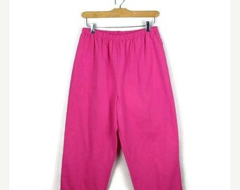 ON SALE Vintage Vivid Pink High waist tapered easy Pants from 90's/W24-34*