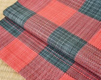 Red black woven Japanese obi belt tartan check, red Japanese art Nagoya obi, vintage silk obi belt, red black kimono belt, checkerboard