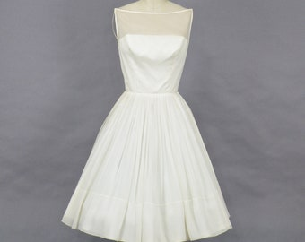 Vintage 1960s Marilyn Monroe Style Ivory Chiffon Dress, 60s Wedding Dress, Illusion Neckline 1960s Party Dress, XS