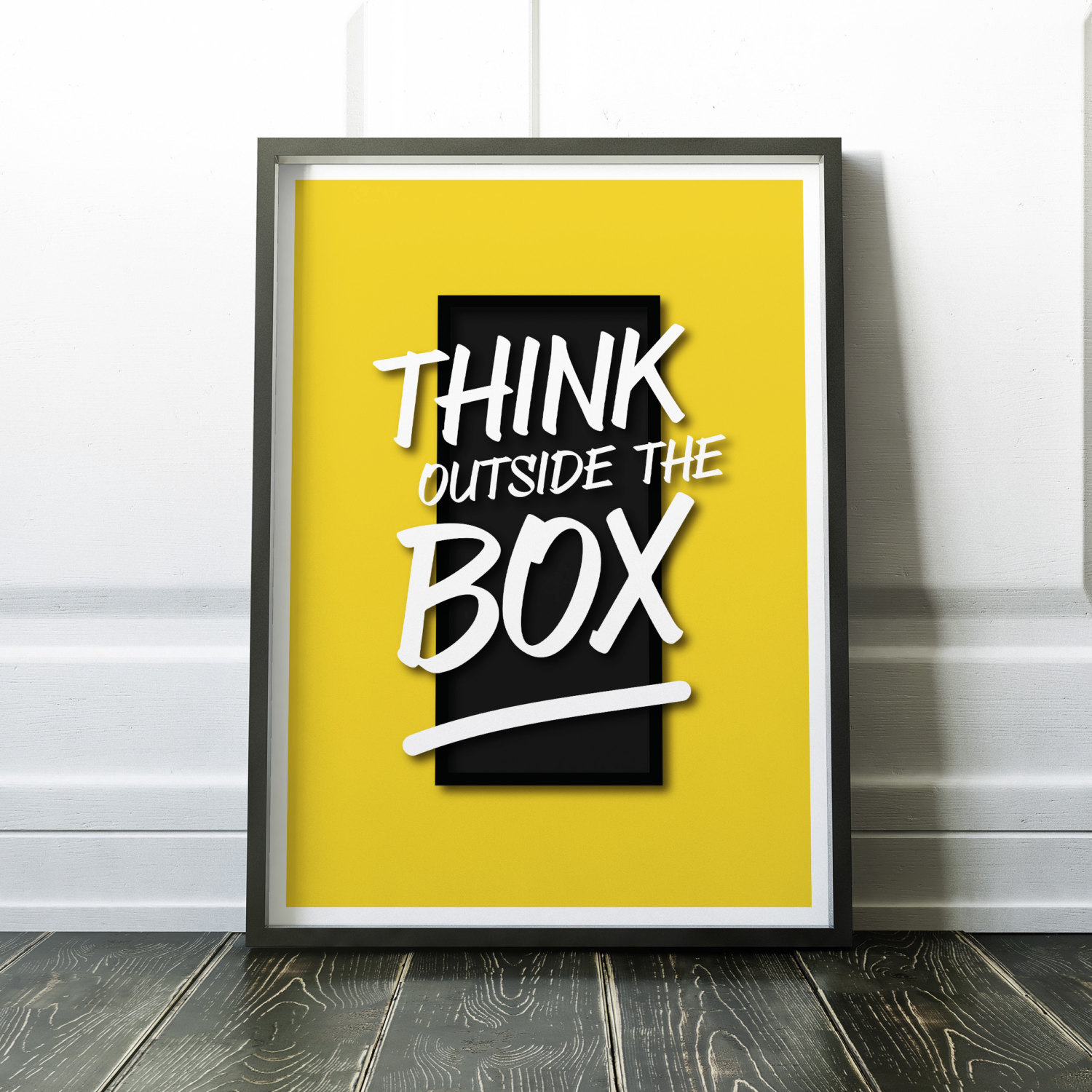 Think Outside the Box Typography Poster Modern Motivational