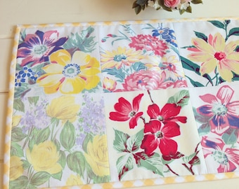 vintage spring floral patchwork table topper