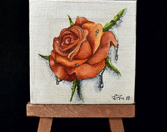 Mini Rose - original miniature oil painting - chrome, nature, flower, pearl