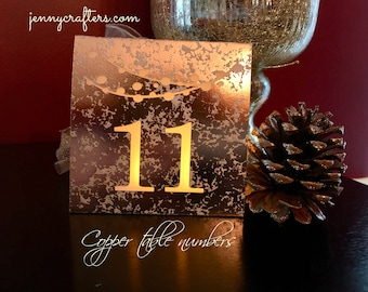 COPPER Table NUMBERS • Table Number Luminaries • Mercury Glass Table Numbers • Wedding Luminaries  • Rustic Wedding Table Numbers