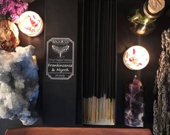 Frankincense & Myrrh Scented Hand Dipped Charcoal Incense Sticks ~ Gift ~ Ritual ~ Home ~ Housewarming