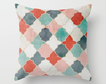 Throw Pillow Cover, Quatrefoil Pillow Cover, Red Teal Navy Pink Decorative Pillow Cover Euro Sham Cover