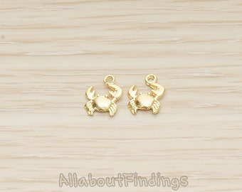 PDT1516-MG // Matte Gold Plated Mini Crab Charm Pendant, 2 Pc