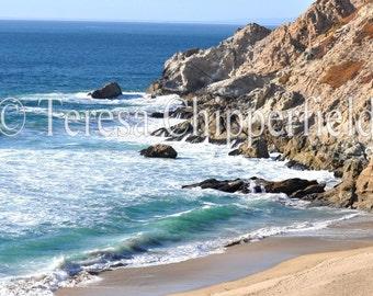 Beach Photography, Ocean Photo, California Coast Photo, Blue Ocean Print, Rocky Coastline Print, Pacific Coast Highway One, Big Sur Photo