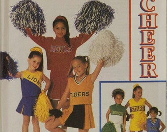 Girls Cheer Leader Costume Simplicity 8701 Sewing Pattern, Cheer Leader outfit is uncut and is size 2, 4, 6 Chest 21 - 25 inches, Halloween