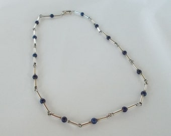 Sodalite and 925 Sterling Silver 15 inch Necklace