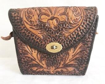 Vintage 50's Tooled Leather Purse