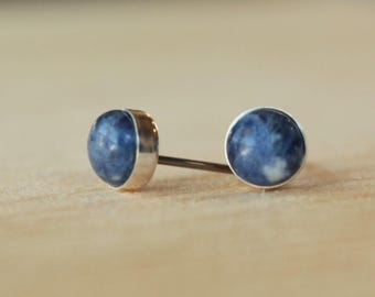 Sodalite Gemstone 6mm Bezel Set on Niobium or Titanium Posts (Hypoallergenic Stud Earrings for Sensitive Ears)