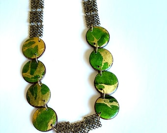 Long Modern Necklace, Green Chunky Necklace, Green and Gold Necklace, Big Fashion Jewelry, Bold Statement Necklace for Women, Paper Jewelry