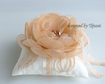 Wedding ring bearer pillow with peach flower and embroiderings---wedding rings pillow , wedding pillow