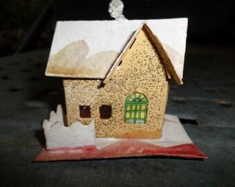 Putz House, Mica House, Castle, snowy Christmas Ornament,  decoration, coconut,  1950s Christmas Ornament, Light Cover, Christmas, tree