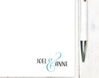 personalized notePAD - COUPLES AND AMPERSAND - stationery - stationary - choose color