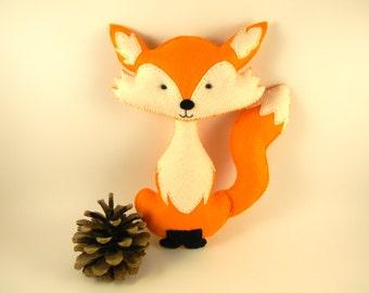 Personalized felt fox toy Fox stuffed animal  Plush Fox Toy Fox nursery decor  Fox Stuffed toy handmade  woodland nursery decor orange